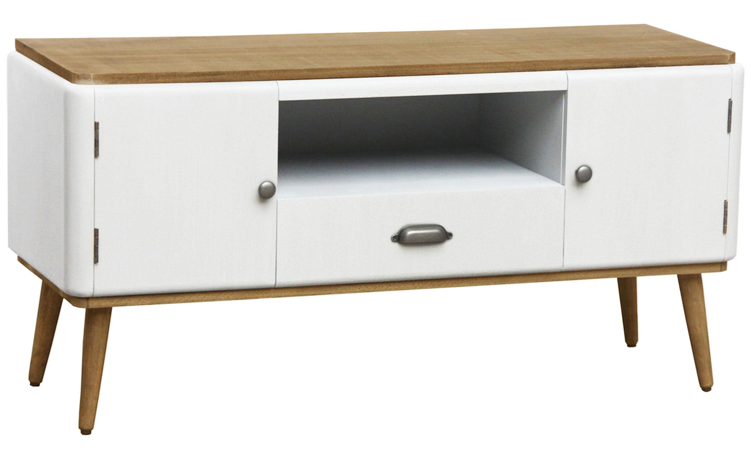 Table de chevet Hansel scandinave 3 tiroirs Blanc