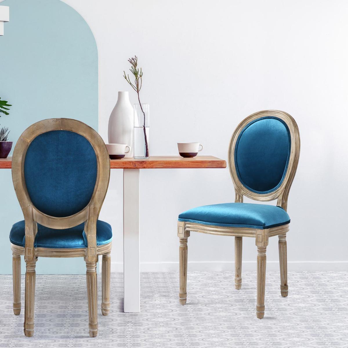 Lot de 2 chaises Louis XVI Velours Bleu