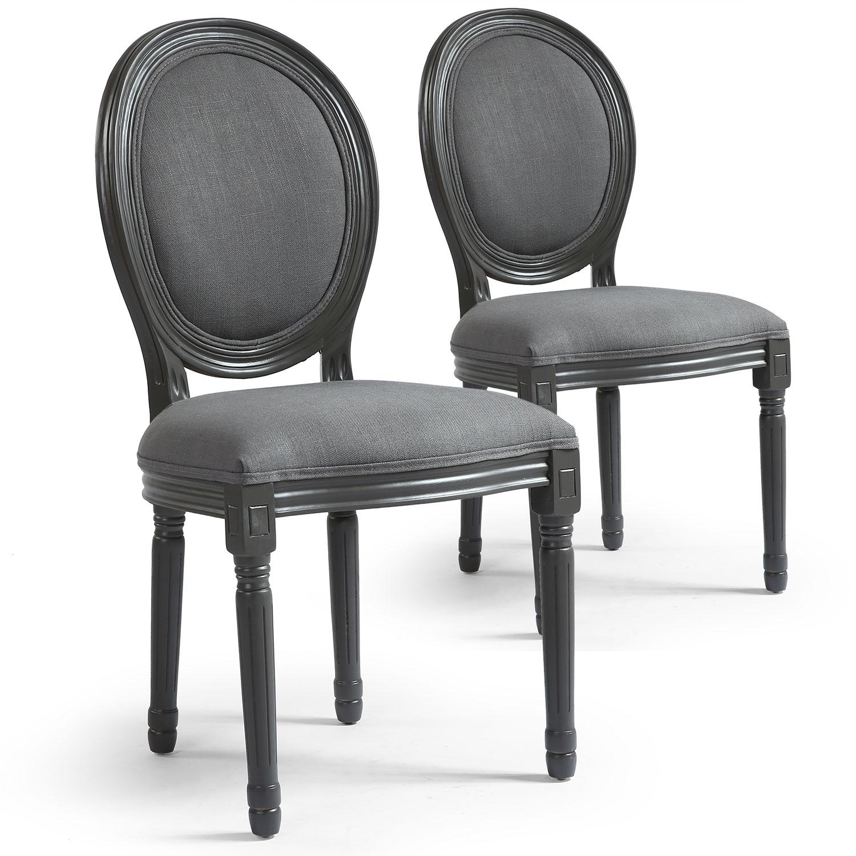 Lot de 2 chaises de style médaillon Louis XVI Gris Tissu Gris