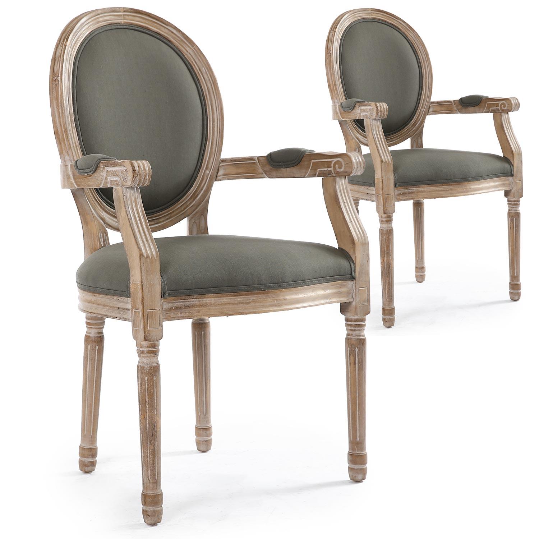 Lot de 2 chaises médaillon Louis XVI Cosy Tissu Gris