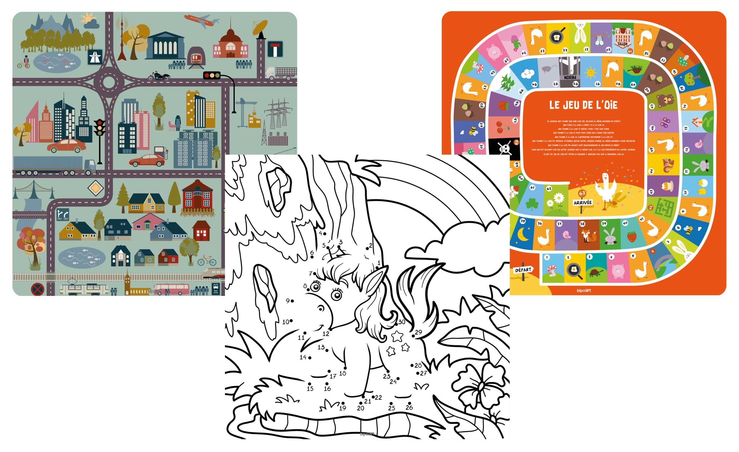 3 Tops magnétiques 40X40cm coloris style Kids