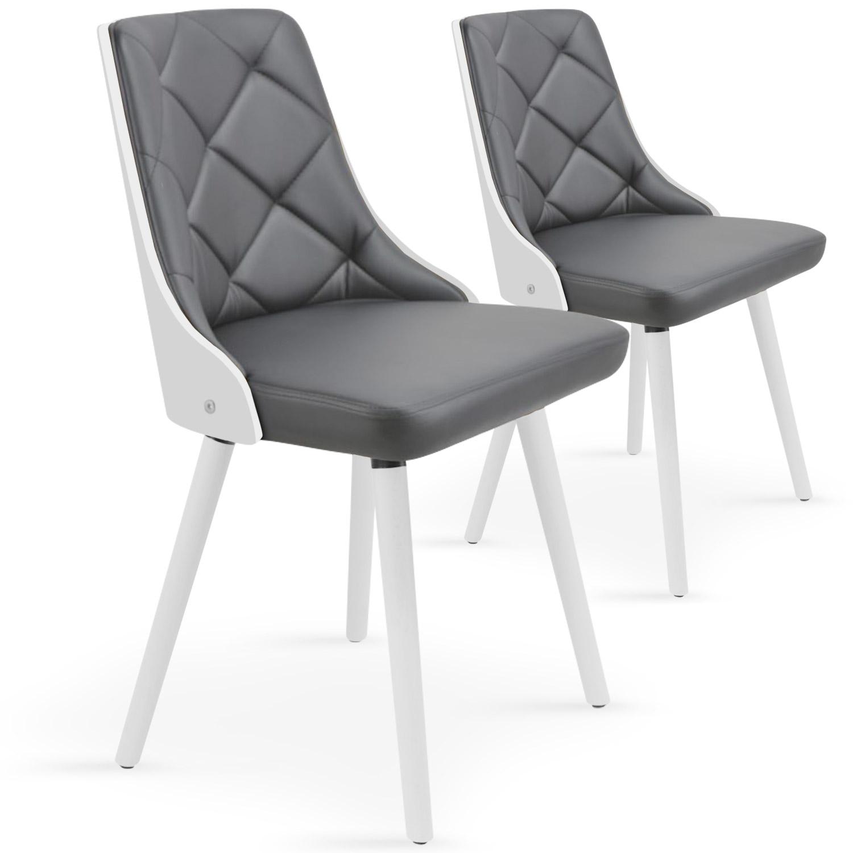 Lot de 2 chaises scandinaves Lalix Blanc & Gris