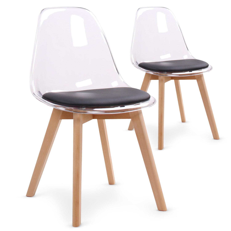 Lot de 2 chaises scandinaves Bovary Plexi Noir