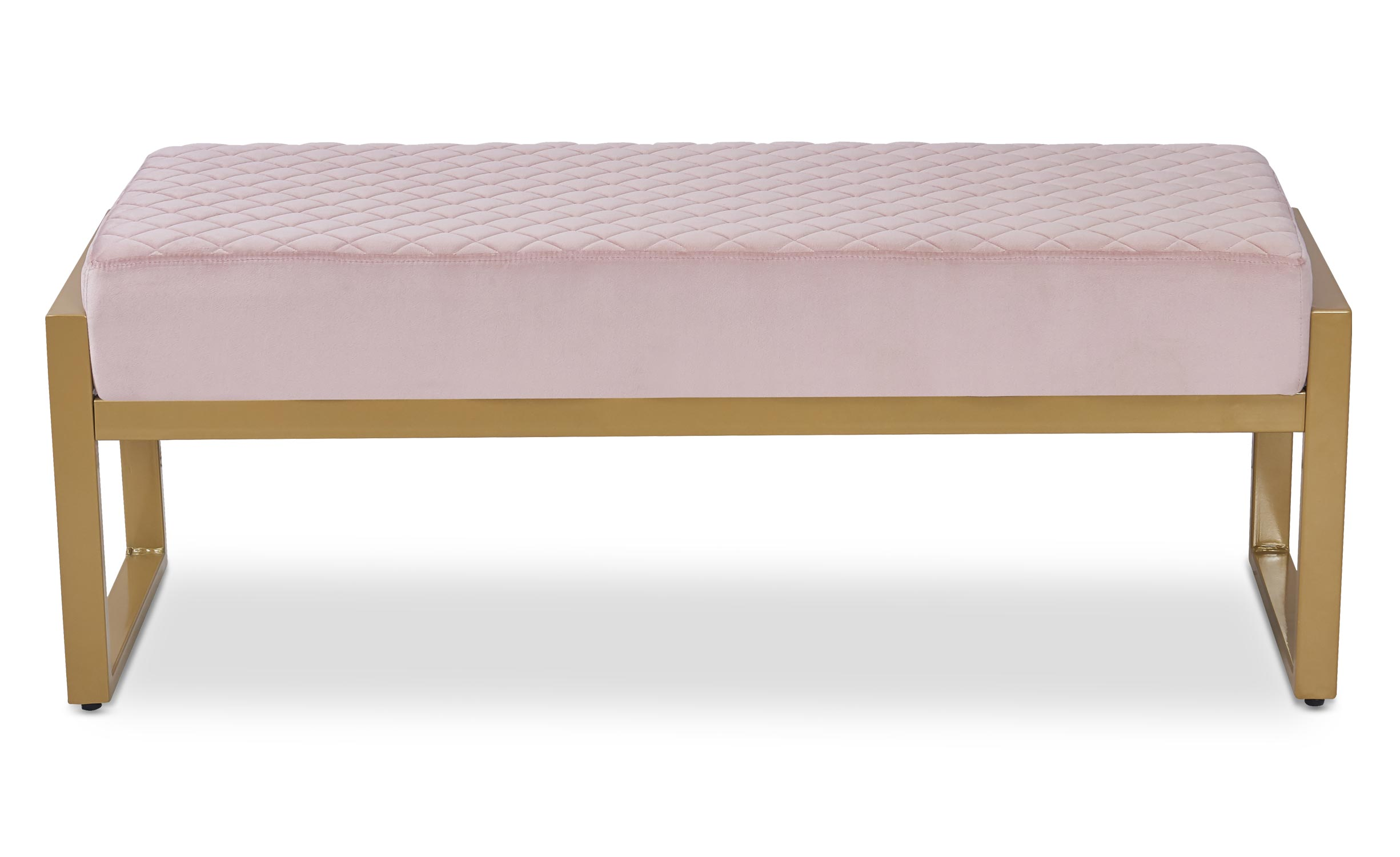 Banquette Madison Velours Rose Pieds Or