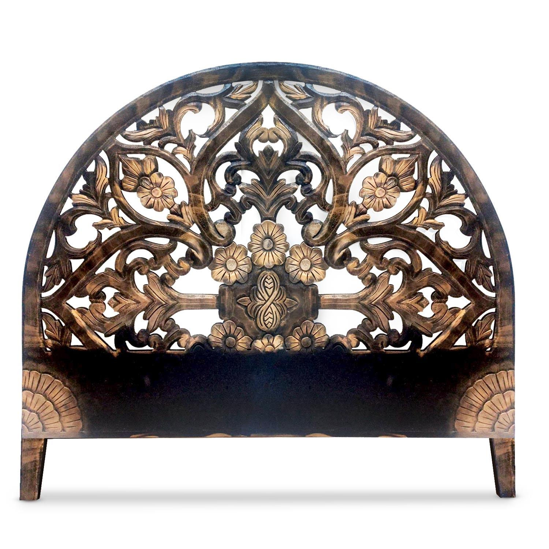 Tête de lit sculptée Demilune 160cm Bois Noir et Or