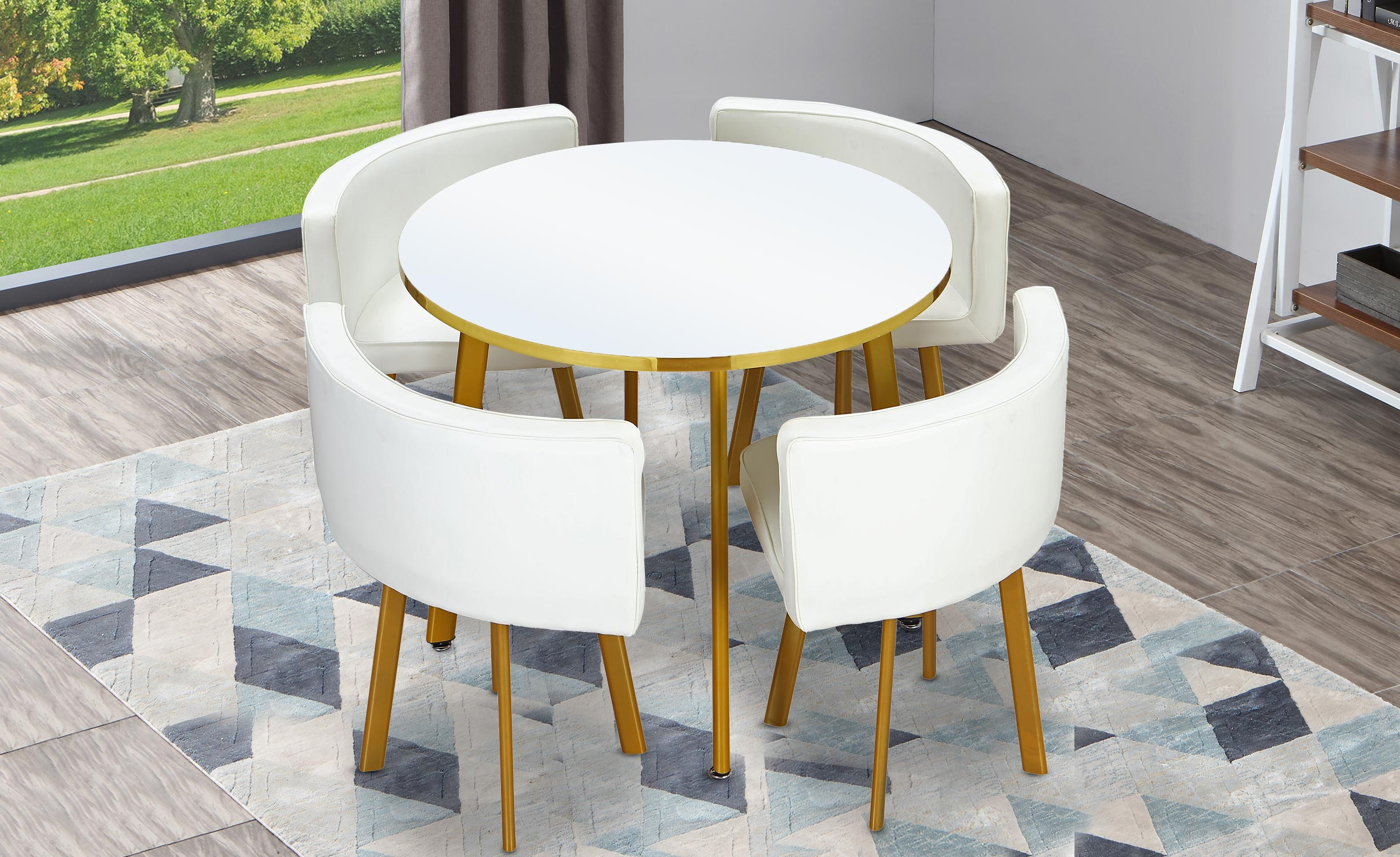 Table ronde et chaises Riga Blanc et Simili Blanc