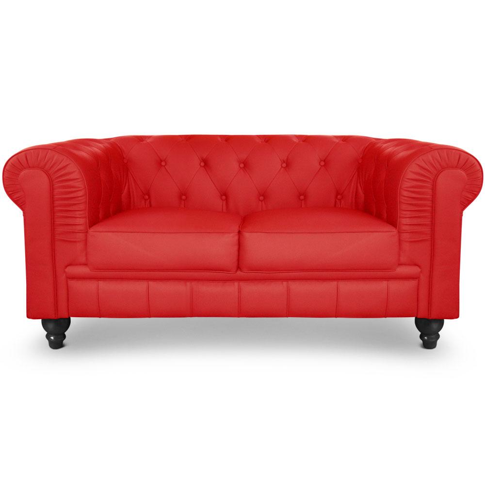 Le véritable canapé Chesterfield 2 places capitonné rouge