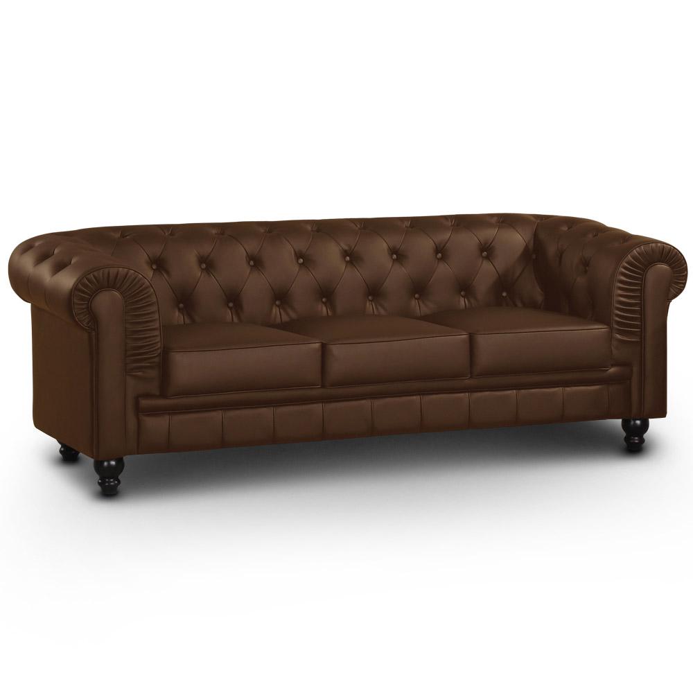 Le véritable canapé Chesterfield 3 places capitonné marron