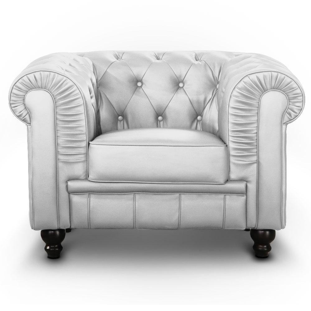 Le véritable fauteuil Chesterfield capitonné argent
