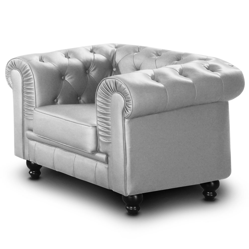 Grand fauteuil Chesterfield Argent
