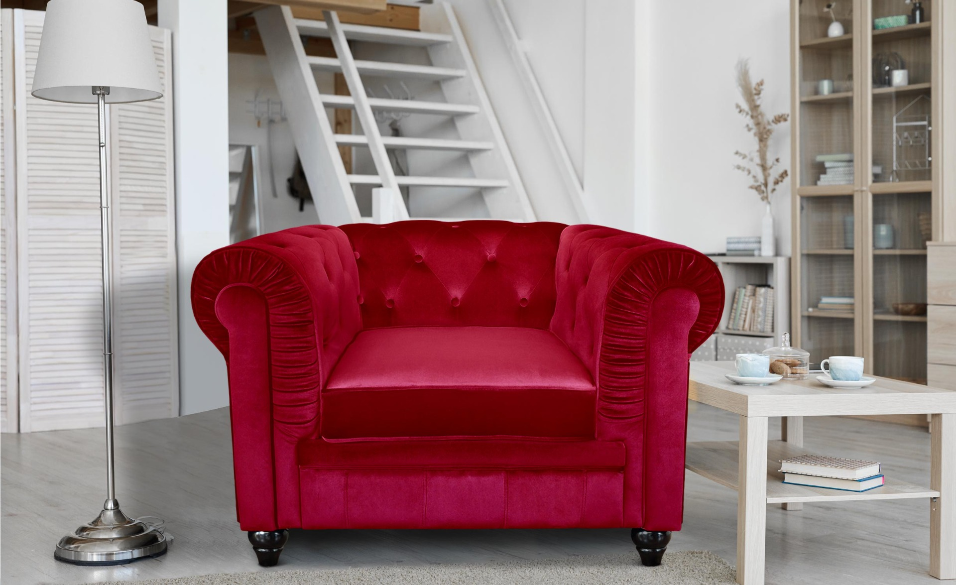 Grand fauteuil Chesterfield velours Rouge
