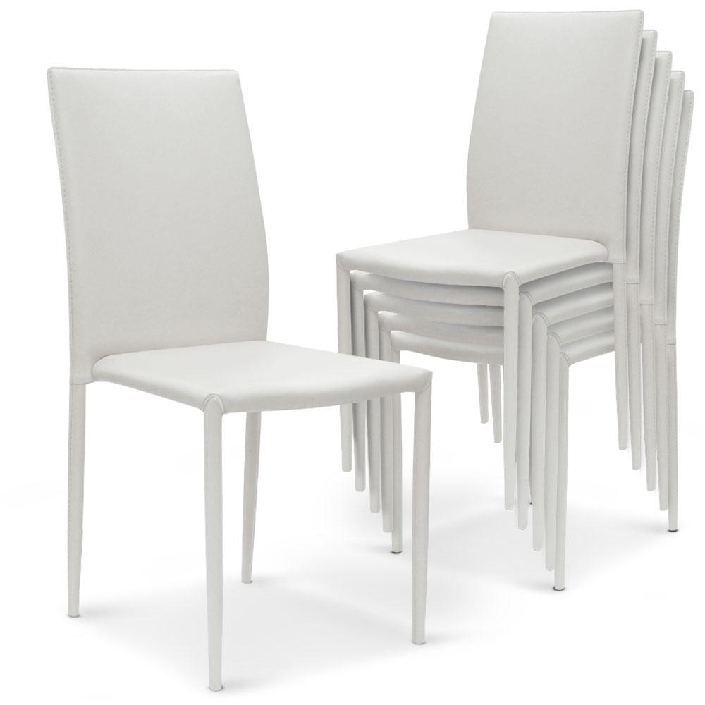 5 lots de 6 chaises empilables Modan Simili (P.U) Blanc