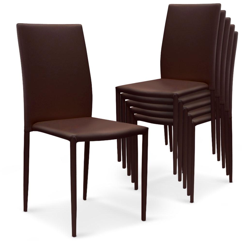 5 lots de 6 chaises empilables Modan Simili (P.U)  Marron