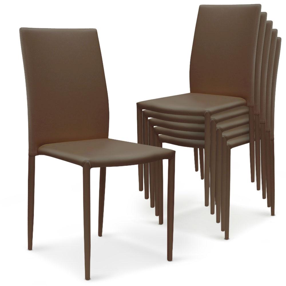 Lot de 6 chaises empilables Modan Simili (P.U) Taupe