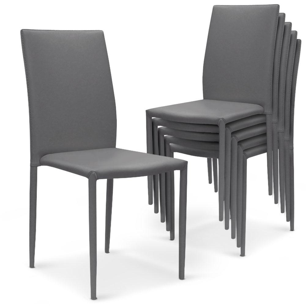Lot de 6 chaises Modan simili-cuir Gris