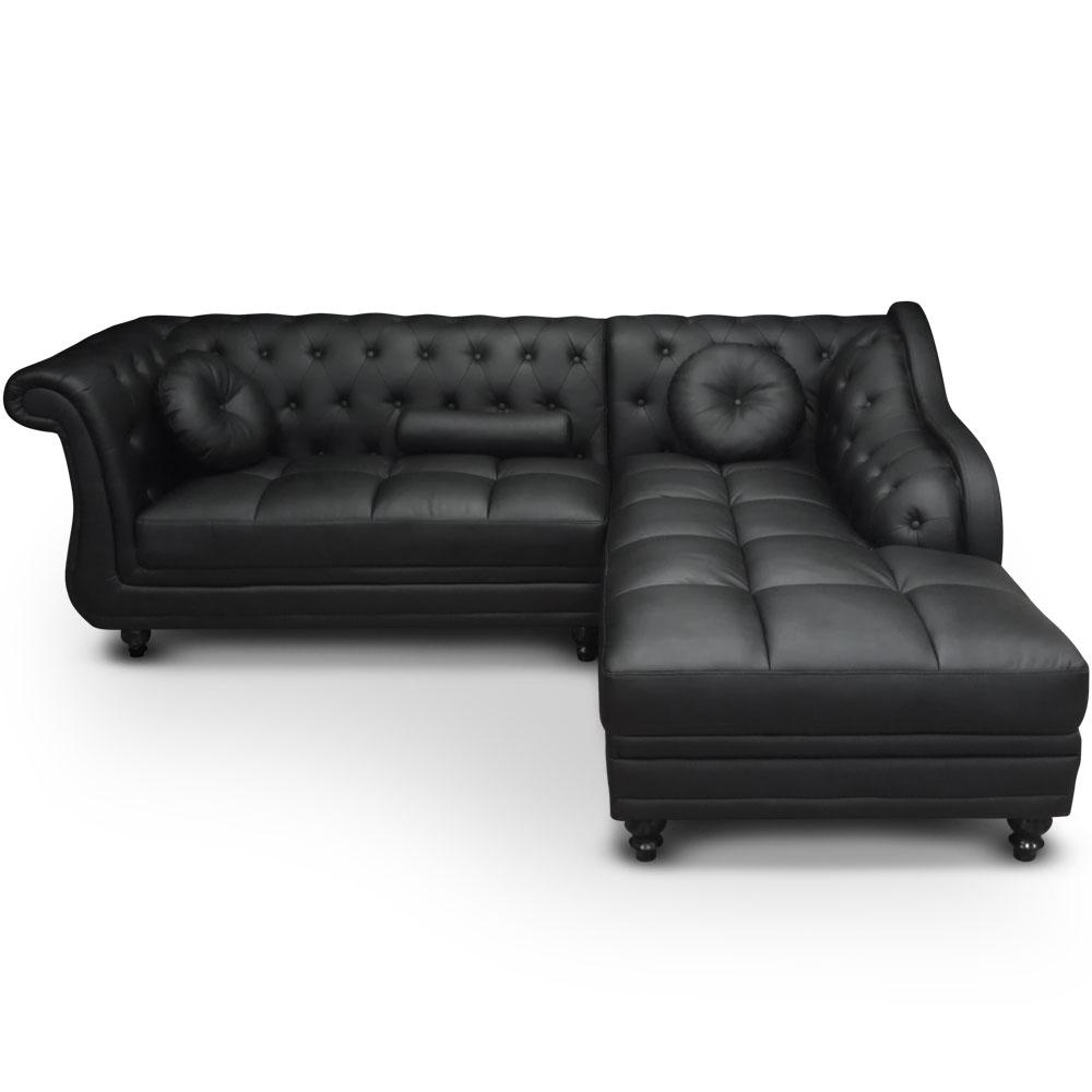 Canapé d'angle Brittish Noir style chesterfield
