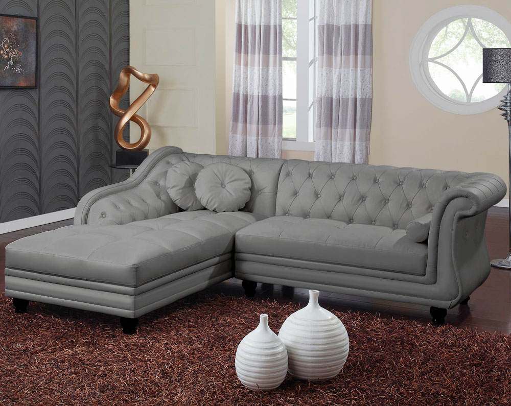 Canapé d'angle Brittish Gris style chesterfield