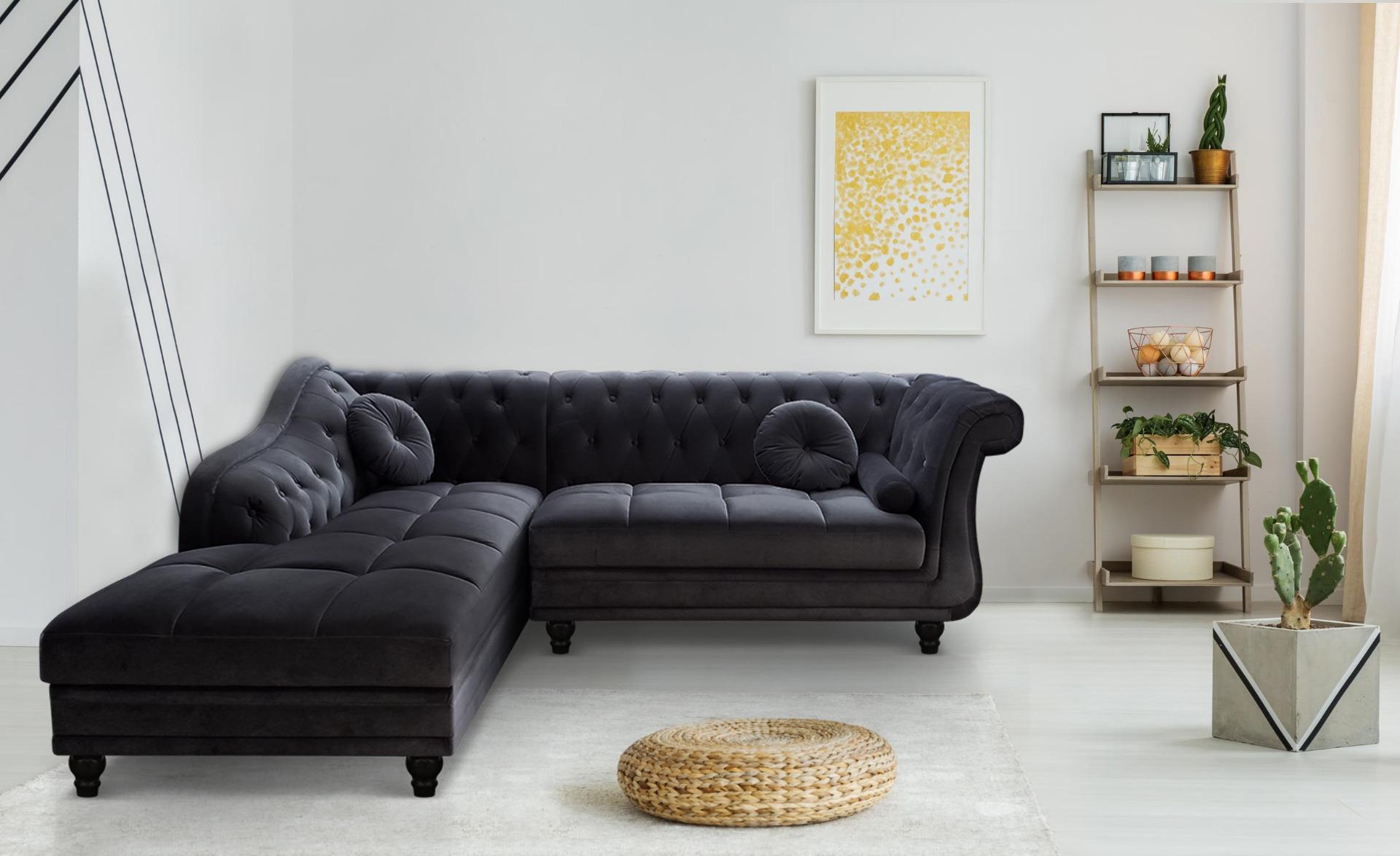 Canapé d'angle Brittish Velours Noir style Chesterfield