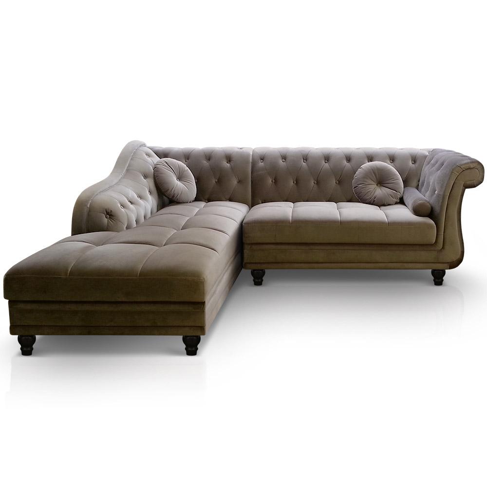 Canapé d'angle Brittish revêtement velours taupe, canapé capitonné type chesterfield