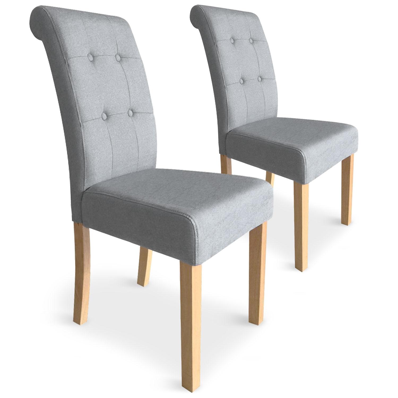 Lot de 2 chaises Adam Tissu Gris clair