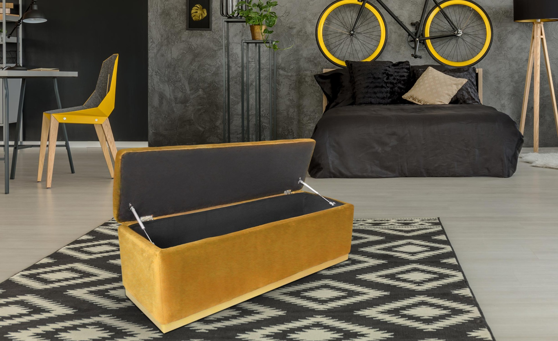 Banc coffre Alexandrie Velours Ocre Pied Or