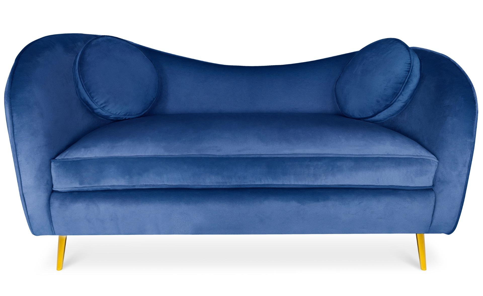 Canapé 2 places Altess Velours Bleu pieds Métal Or