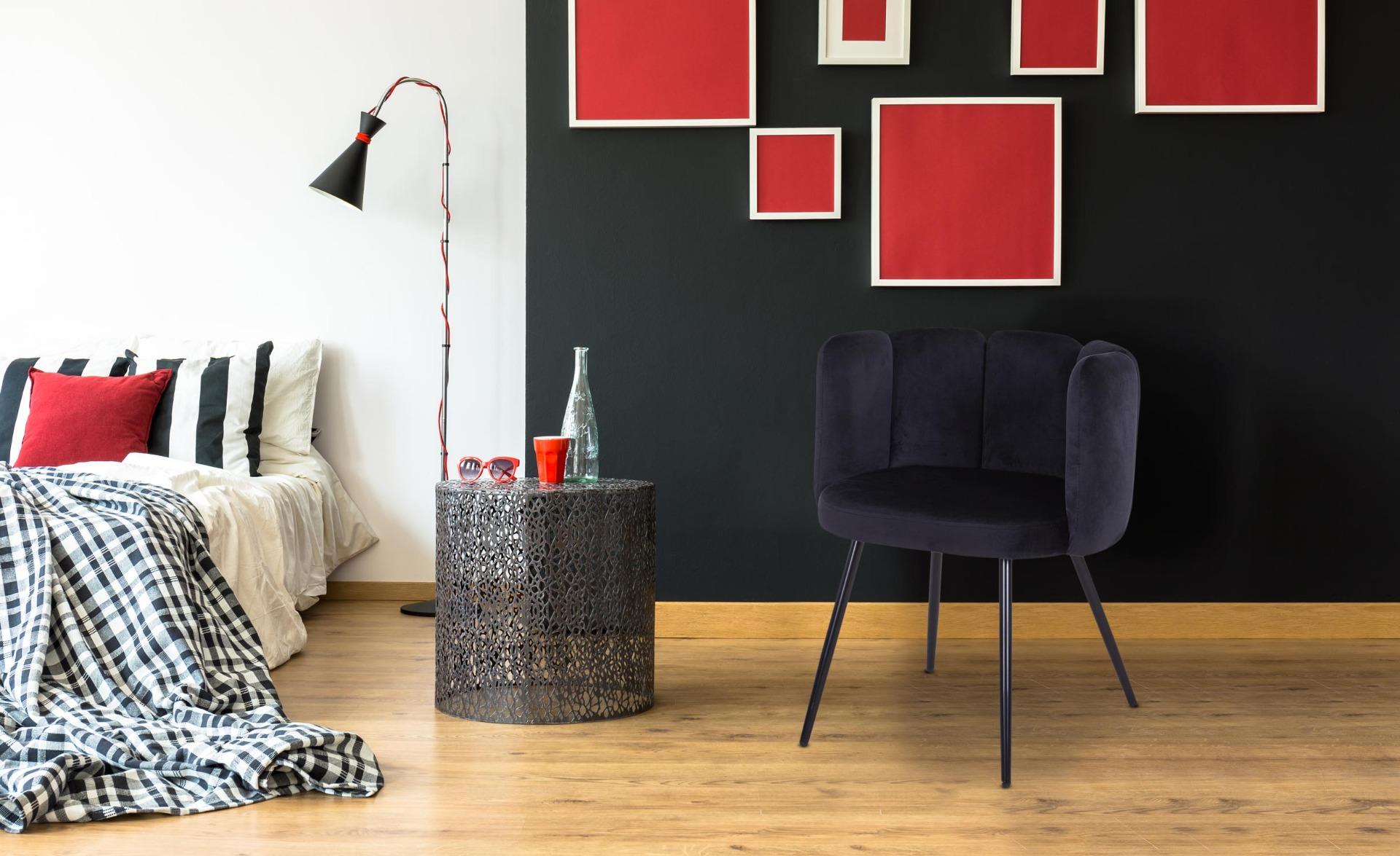 Lot de 2 chaises Amela Velours Noir