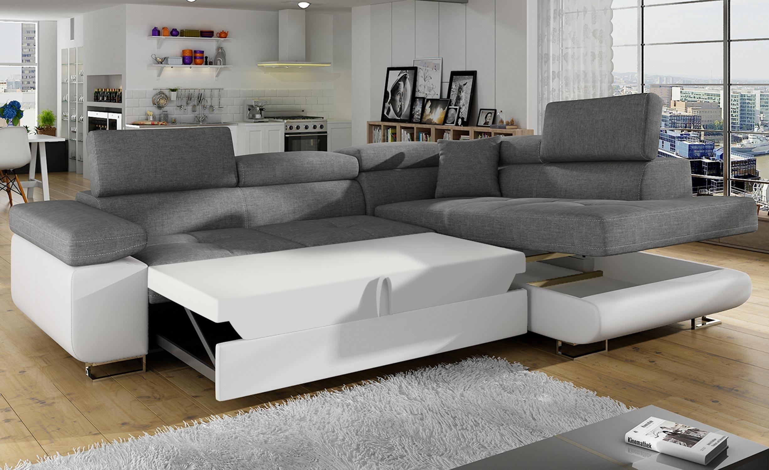 Canapé d'angle convertible Antoni avec têtières relevables angle à droite simili Blanc et tissus Gris clair