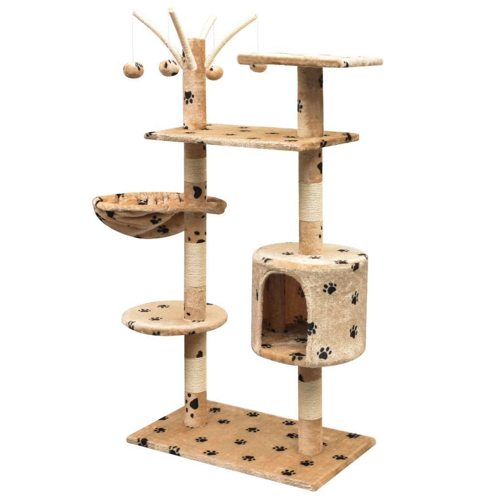 Arbre à chat avec griffoirs imprimé Minette 125cm Bois et Sisal Beige