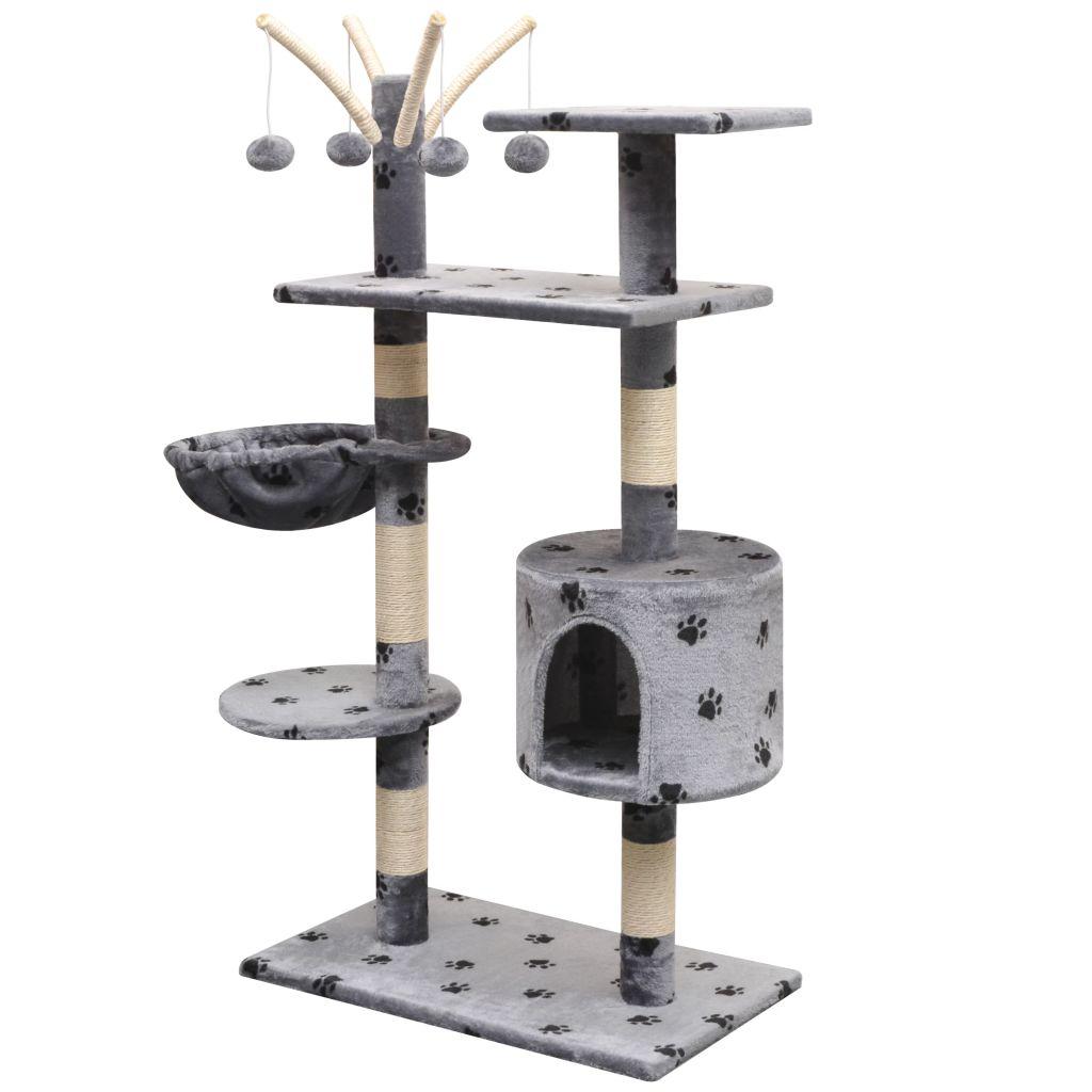 Arbre à chat avec griffoirs imprimé Minette 125cm Bois et Sisal Gris
