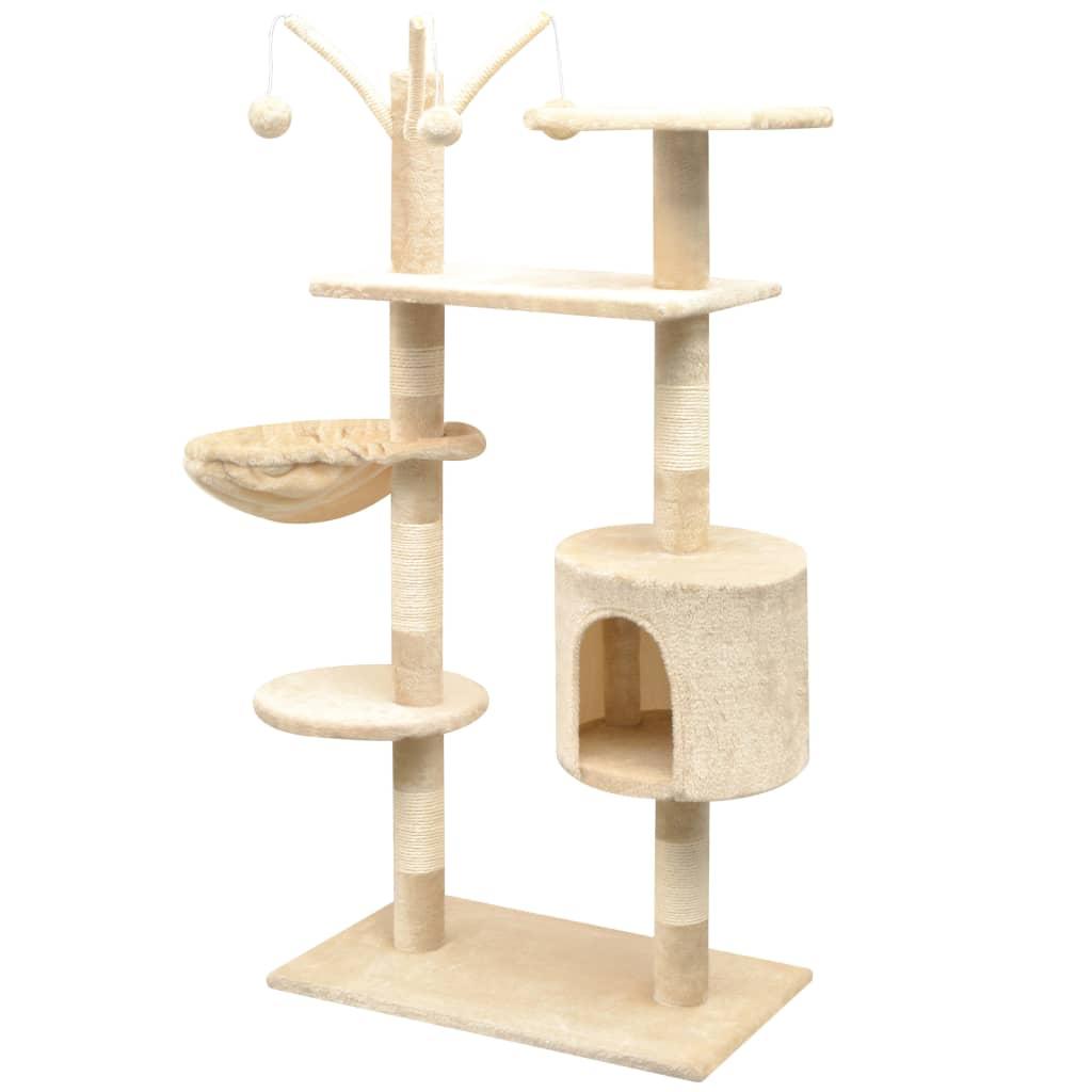 Arbre à chat avec griffoirs Minette 125cm Bois et Sisal Beige