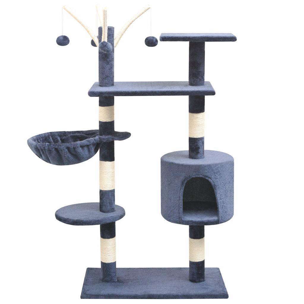 Arbre à chat avec griffoirs Minette 125cm Bois et Sisal Bleu Foncé