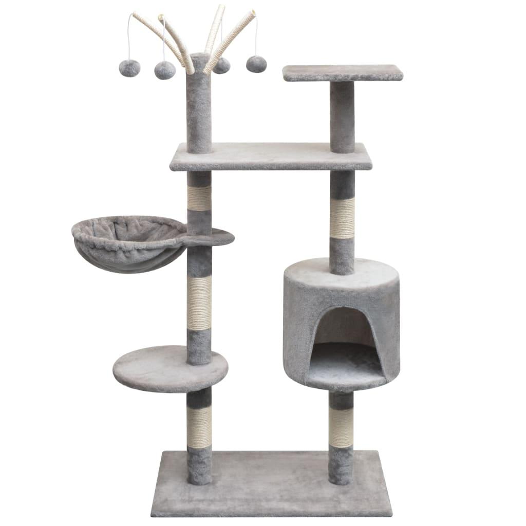 Arbre à chat avec griffoirs Minette 125cm Bois et Sisal Gris