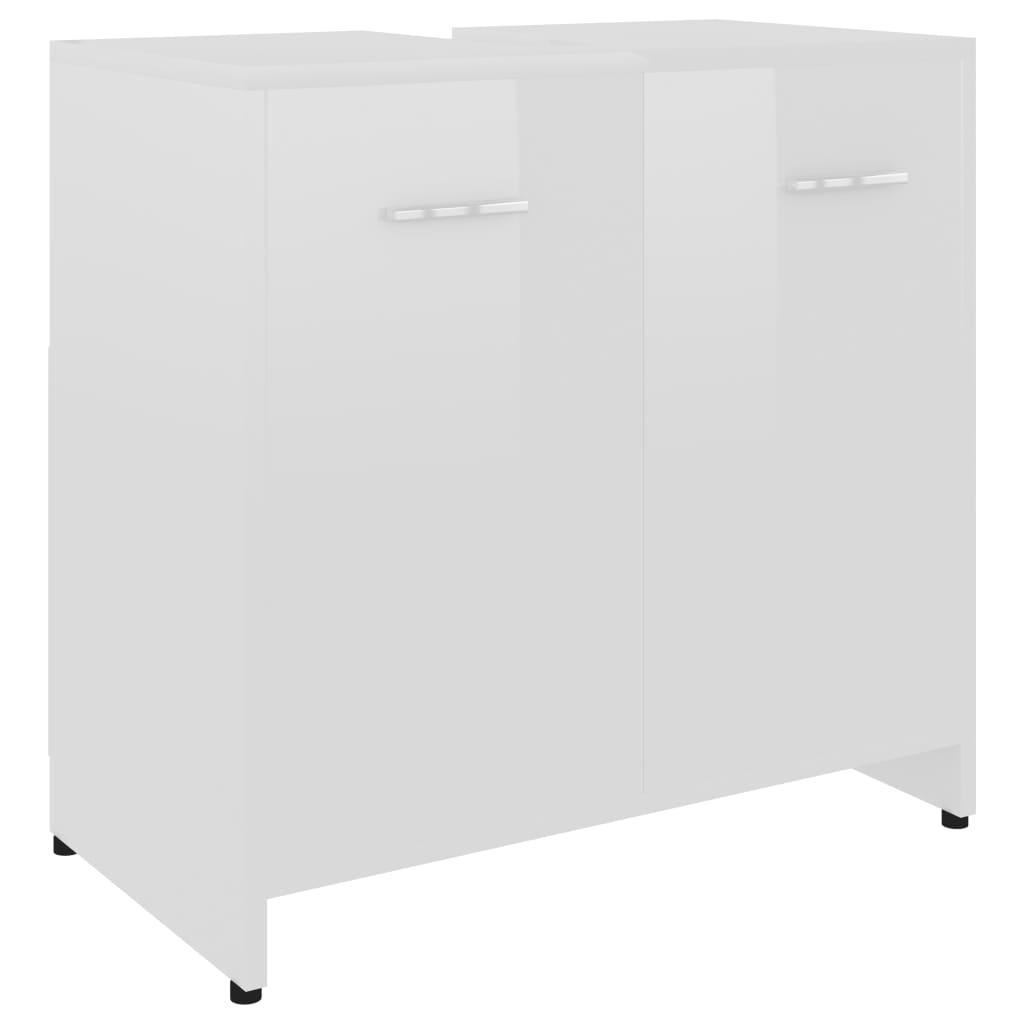 Armoire de salle de bain Cléo 60x58cm Bois Blanc Brillant