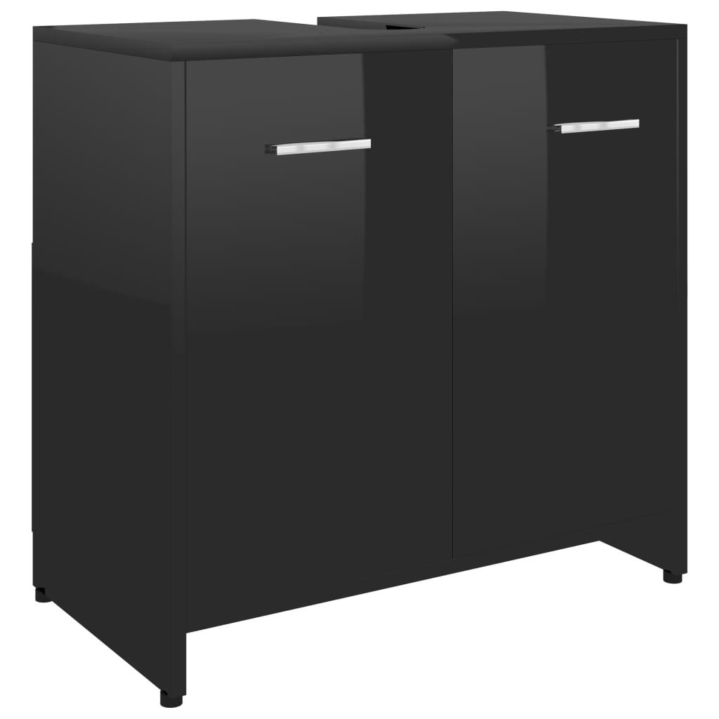 Armoire de salle de bain Cléo 60x58cm Bois Noir Brillant