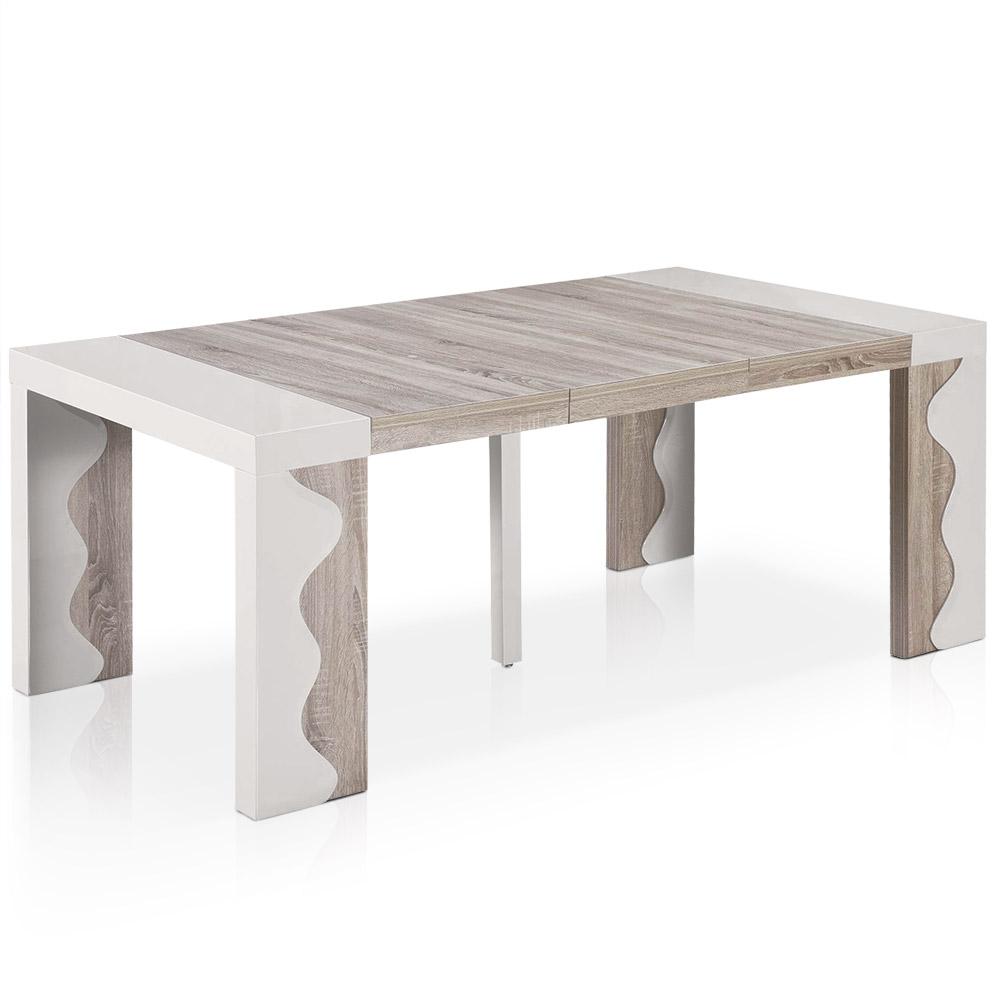 Table Console extensible Ariel XL Laquée Ivoire & Chêne