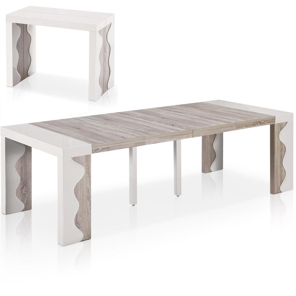 Table-console extensible 4 rallonges Ariel XL Laquée coloris ivoire & Chêne