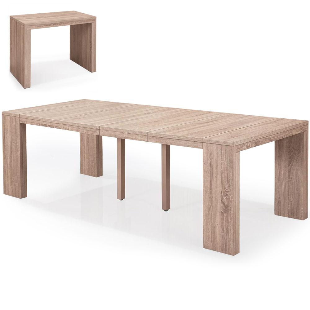 Table console extensible 4 rallonges coloris chêne clair Nassau XL