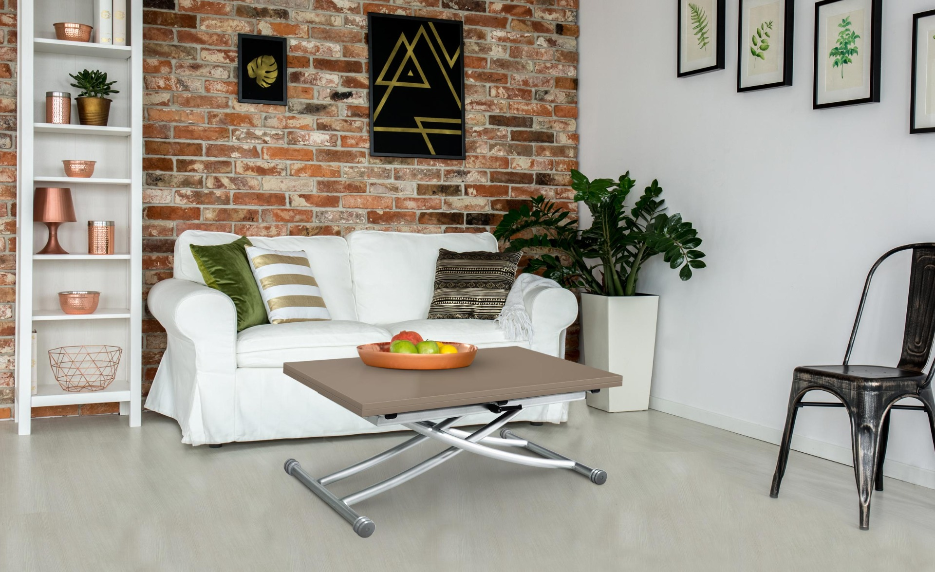 Table basse relevable Carrera Taupe laqué