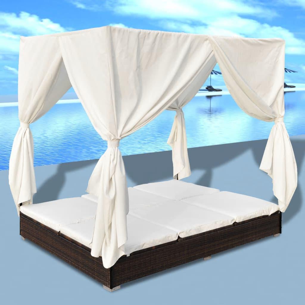 Bain de soleil avec rideaux Jarana Résine tressée Marron et Tissu Blanc Crème