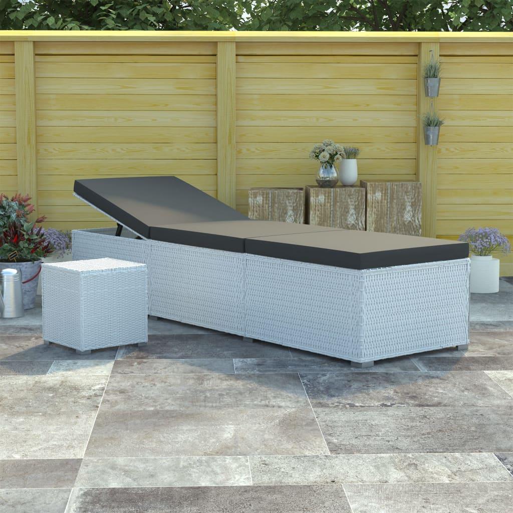 Bain de soleil avec table d'extérieur Endongo Résine tressée Blanc et Tissu Noir