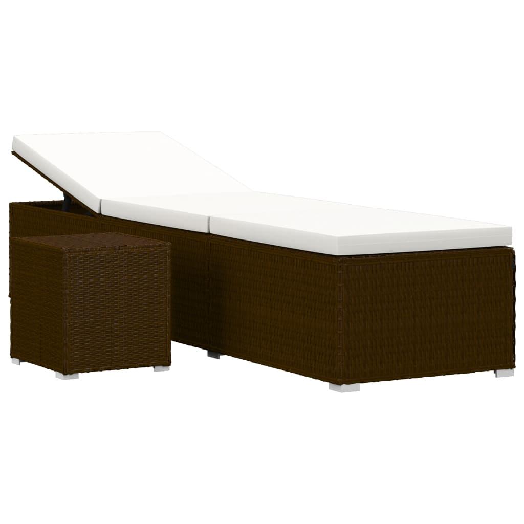 Bain de soleil avec table d'extérieur Endongo Résine tressée Marron et Tissu Blanc Crème