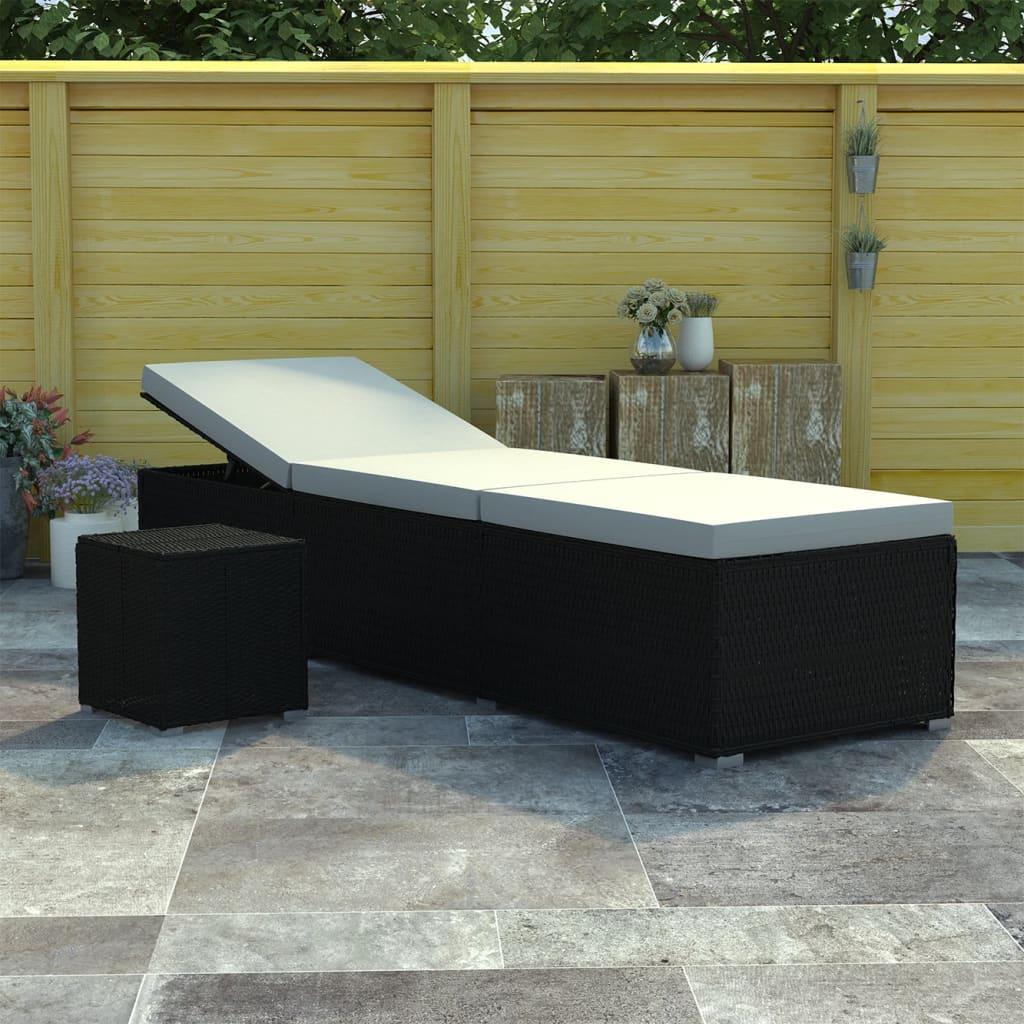 Bain de soleil avec table d'extérieur Endongo Résine tressée Noir et Tissu Blanc Crème