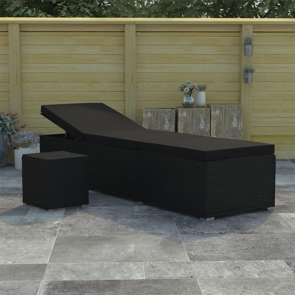 Bain de soleil avec table d'extérieur Endongo Résine tressée Noir et Tissu Noir