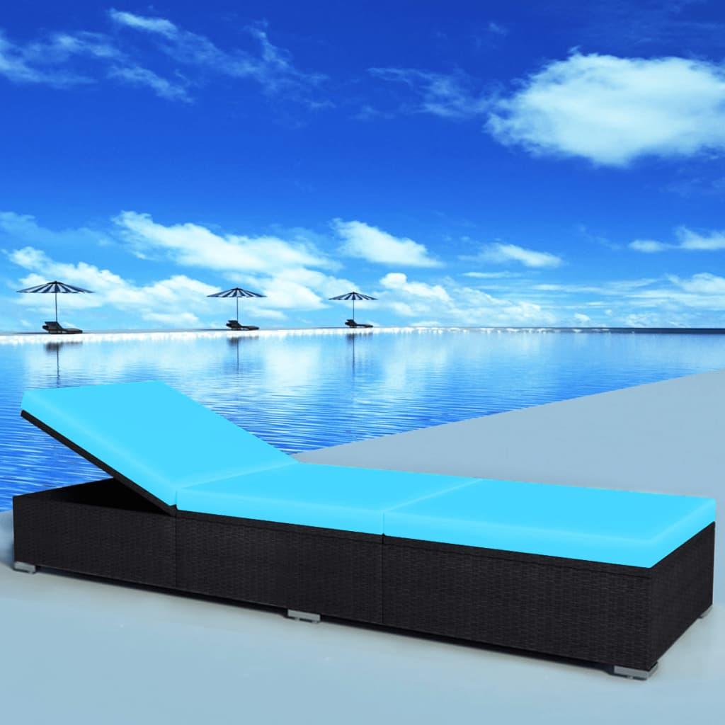 Bain de soleil Curtal Résine tressée Noir et Tissu Bleu