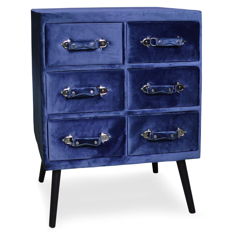 Commode 6 tiroirs Bardo Velours Bleu