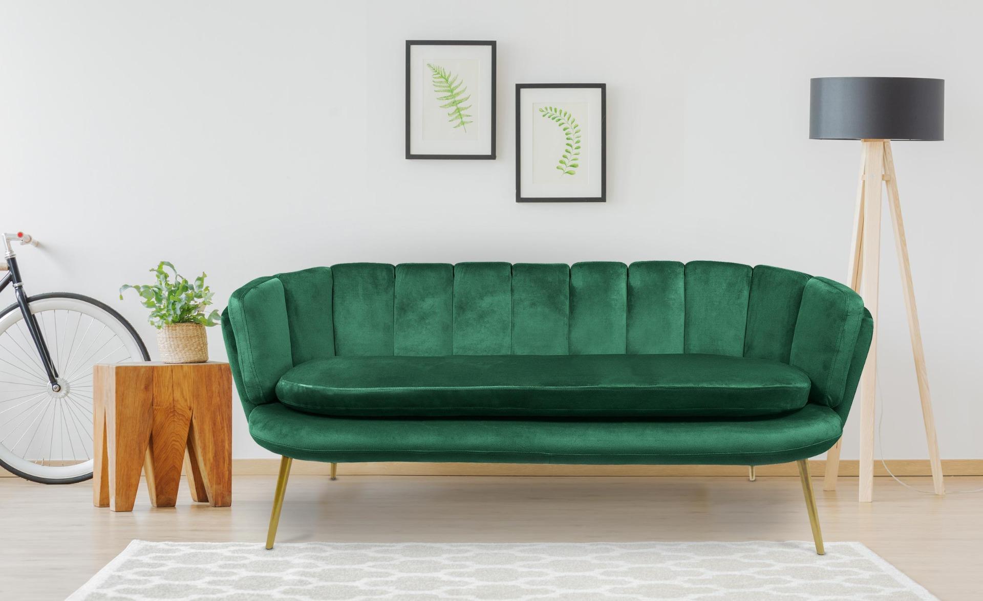 Canapé 3 places arrondi Brenda Velours Vert pieds Or