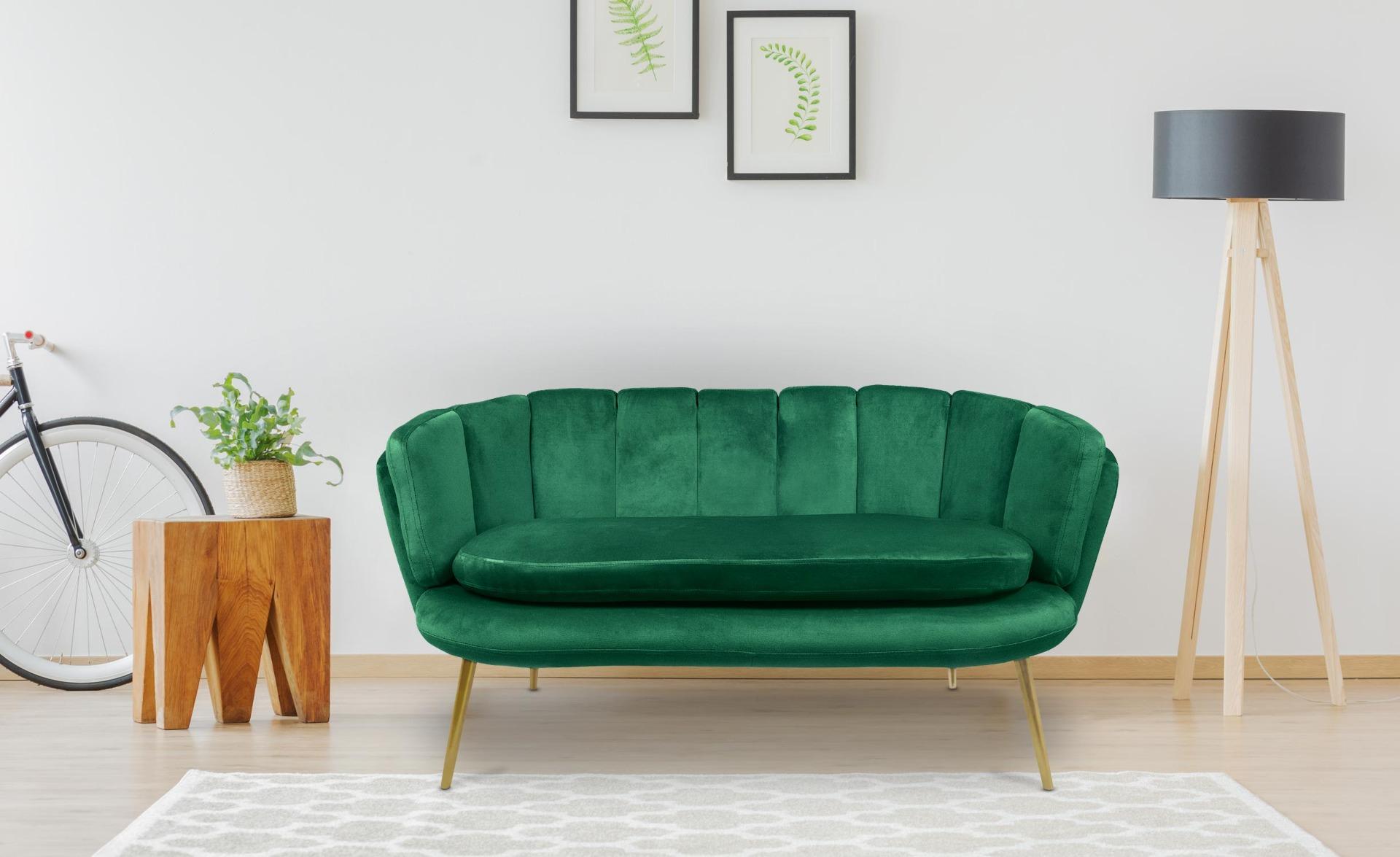 Canapé 2 places arrondi Brenda Velours Vert pieds Or