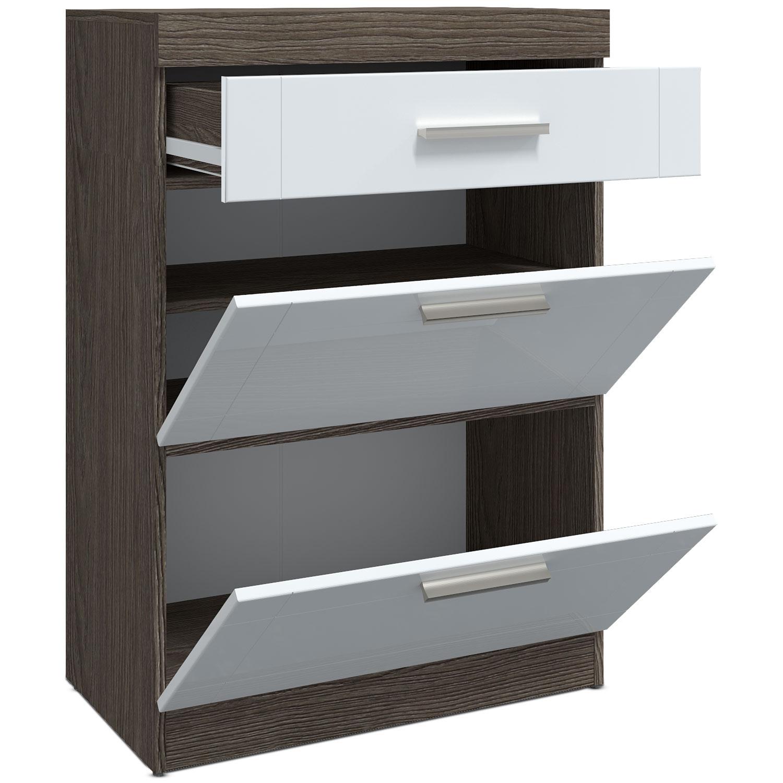 Buffet haut 1 tiroir et 2 portes Tenessil Chêne foncé et Blanc