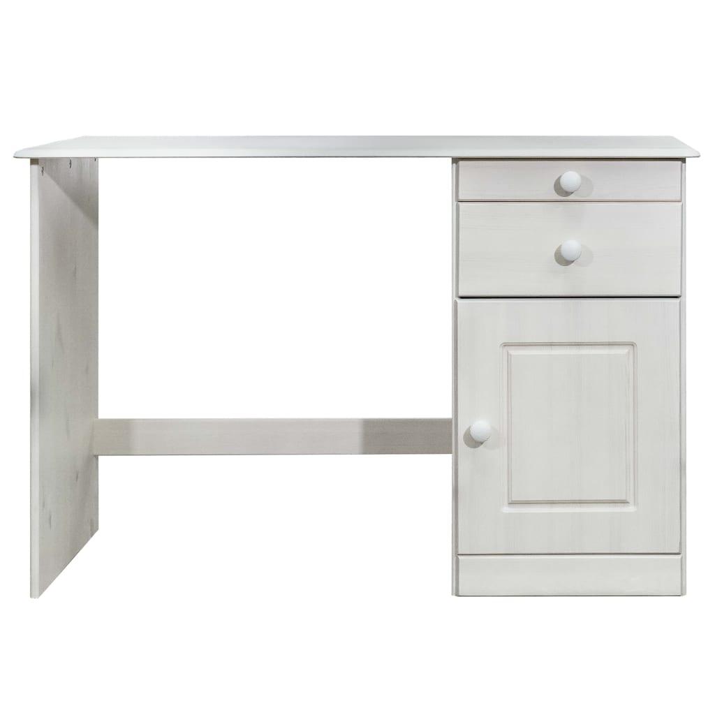 Bureau  2 tiroirs et 1 placard Plazzio Bois Massif Blanc